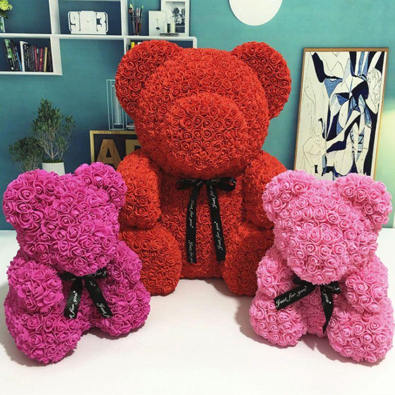 Fleurs artificielles Rose ours multicolore en plastique mousse Rose ours en peluche petite amie saint valentin cadeau fête d'anniversaire décoration