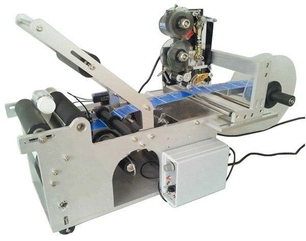 Two In One Semi Automatic Round Bottle Label Applicator with Date Printing Machine