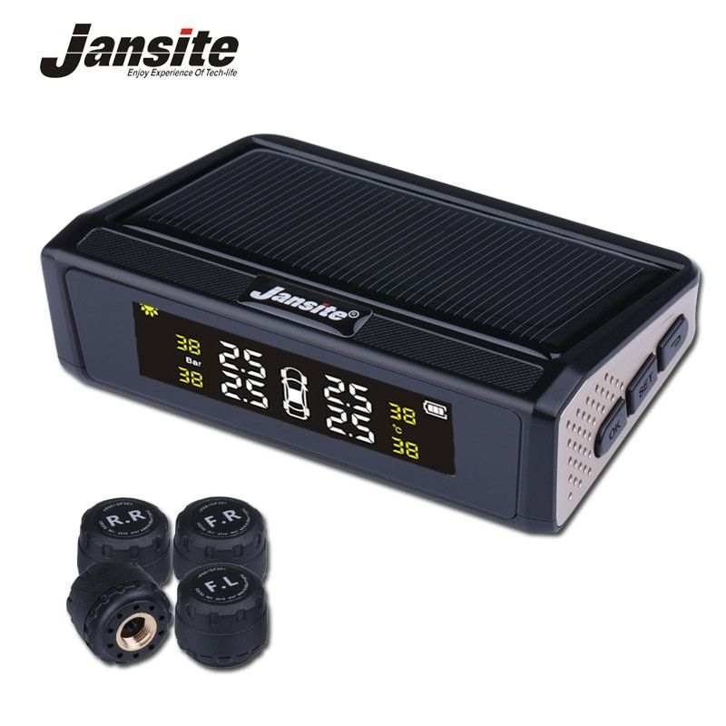 Jansite Solar Powered TPMS Car Tire Pressure Monitor System Wireless 4 External or Internal Sensors Color digital screen