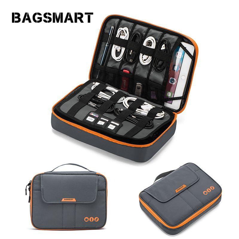 BAGSMART universel voyage câble organisateur électronique accessoires sac de transport pour 9.7 pouces iPad, Kindle, adaptateur secteur