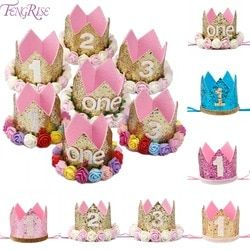 Happy First Birthday Party Hats Decor Cap One Birthday Hat Princess Crown 1st 2nd 3rd Year Old Number Baby Kids Hair Accessory