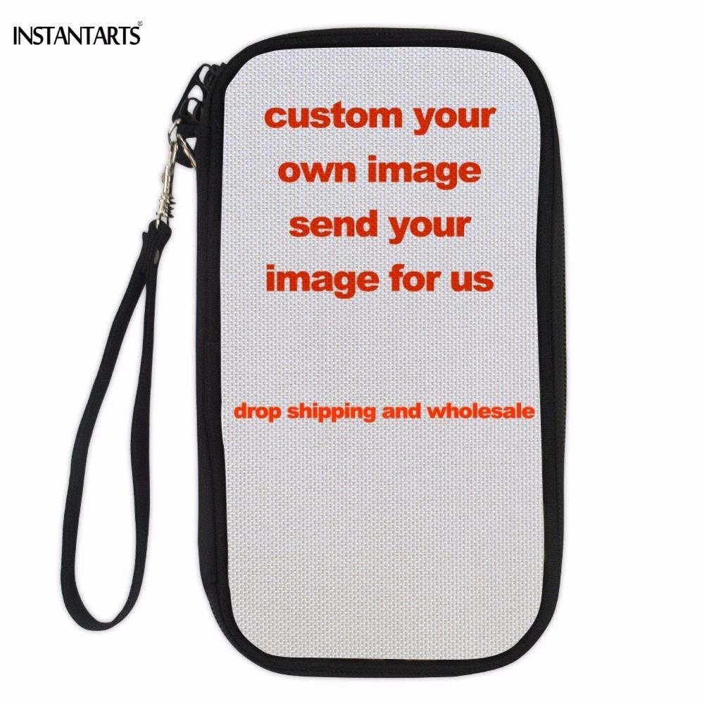 INSTANTARTS Custom Your Own Image Passport Document Package Multi-function Travel ID Card Holder Covers Money Cash Storage Bags
