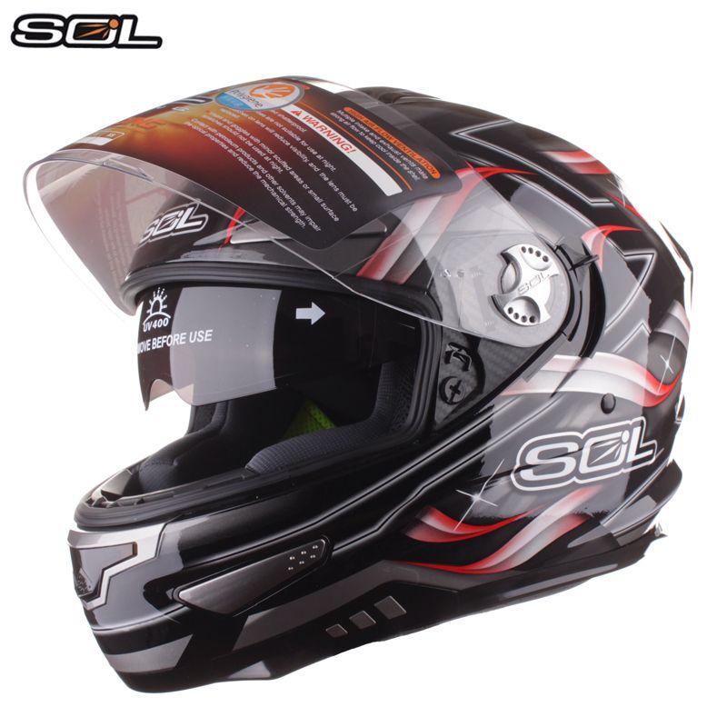 SOL Volle Gesicht Motorrad Helm Heavy Duty Motorrad Racing Helm Mit Inneren Sonnenblende Dual Objektiv Capacete Casco Moto Helm