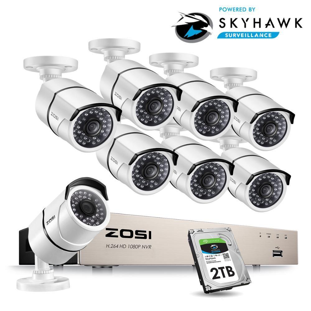 ZOSI 1080 P 8CH Netzwerk PoE Video Überwachung System 8 stücke 2MP Outdoor Indoor Kugel IP Kameras CCTV Sicherheit NVR kit 2 TB HDD