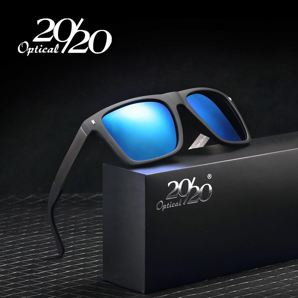 20/20 Marque Rétro lunettes de Soleil Hommes Polarisé Carrés En Métal Cadre Bleu Lentille Lunettes de Soleil Mâle Conduite Lunettes Gafas Oculos PL294