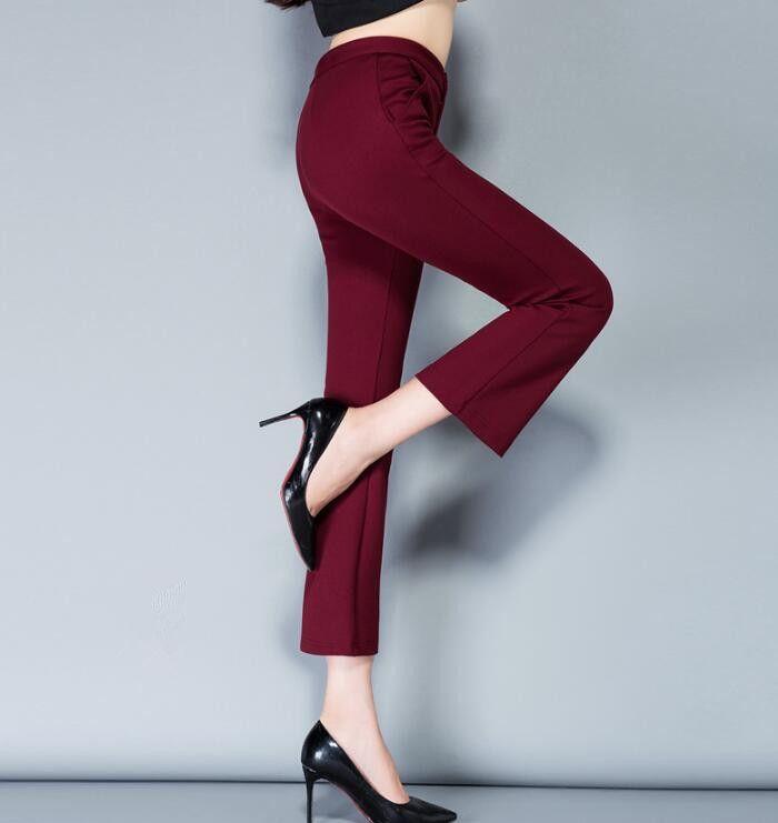 2018 printemps et automne nouveau pantalon slim évasée pantalon occasionnel femelle pantalon stretch pantalon