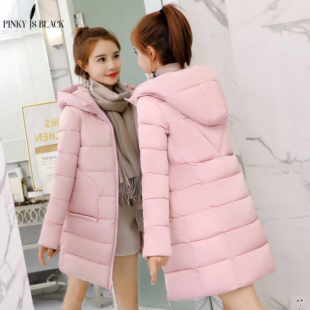 PinkyIsBlack 2019 winter coat women medium-long coat parkas female outerwear women hooded down cotton-padded winter jacket women