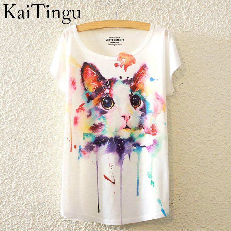 KaiTingu 2016 Brand New Fashion Summer Harajuku Animal Cat Print Shirt O-Neck Short Sleeve T Shirt Women Tops White T-shirt