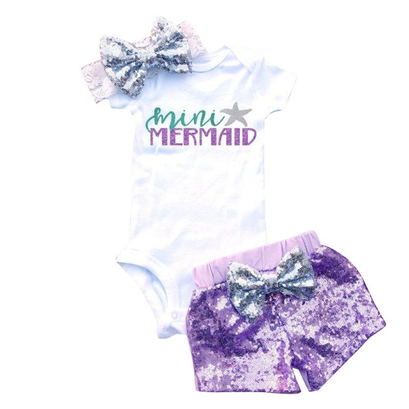 Summer 1st 2nd Birthday Baby Sets Little Mermaid Party Toddler Girl Purple Outfits Romper Shorts Headband Infant Clothing Suits