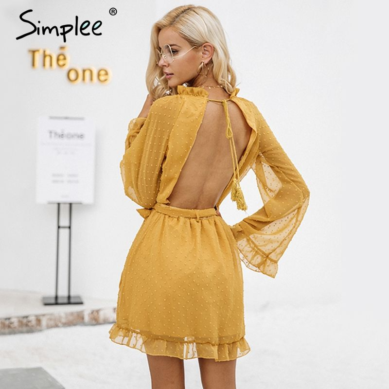 Simplee Lace up backless mesh dress women Elegant stringy selvedge sash <font><b>mini</b></font> dress Fashion long flare sleeve dresses vestidos