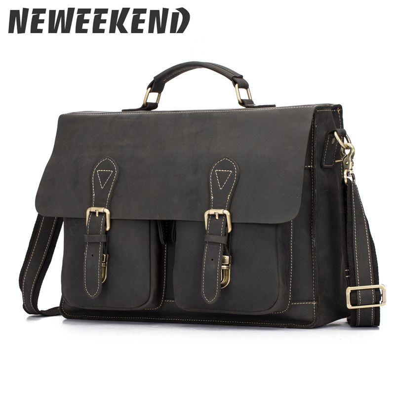 NEWEEKEND 1061 Genuine Leather Crazy Horse 15 Inch Cowhide Crossbody Briefcases Handbag Laptop iPad Bag Male Men Portfolio Tote