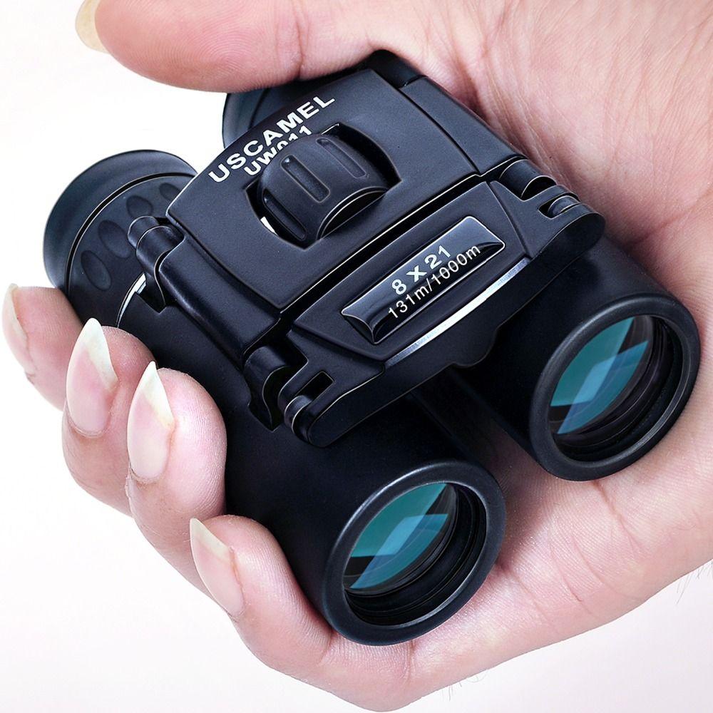 USCAMEL 8x21 Compact Zoom Jumelles Longue Portée 3000 m Pliage HD Puissant Mini Télescope Bak4 FMC Optique Chasse sport Noir