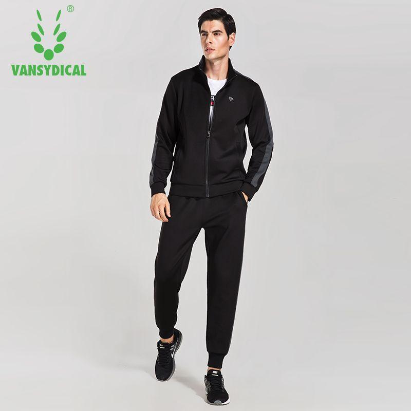 VANSYDICAL Warm Sport Suit Men Sportswear Windproof Gym Track Tracksuit Running Sets