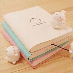 2018 Cute Kawaii cuaderno encantador lindo de la historieta diario planificador Bloc de notas para los niños regalo papelería coreana tres cubiertas
