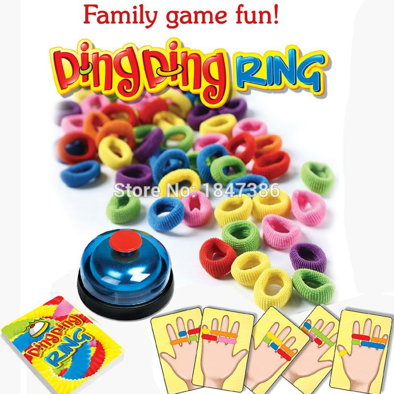 Funny Challenge Ring Ding Toy Family Party  Games Great Practical Gadgets For 2-6 players with 24 picture cards 60 Hair  1 Bell