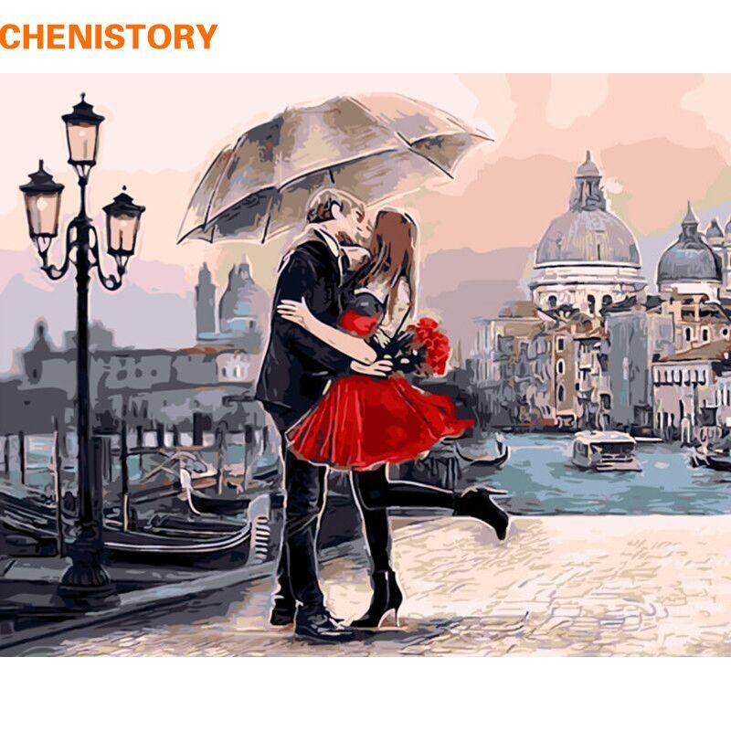 Cadre romantique baiser amoureux peinture à la main par numéros paysage acrylique image mur Art peint à la main peinture à l'huile pour la décoration intérieure