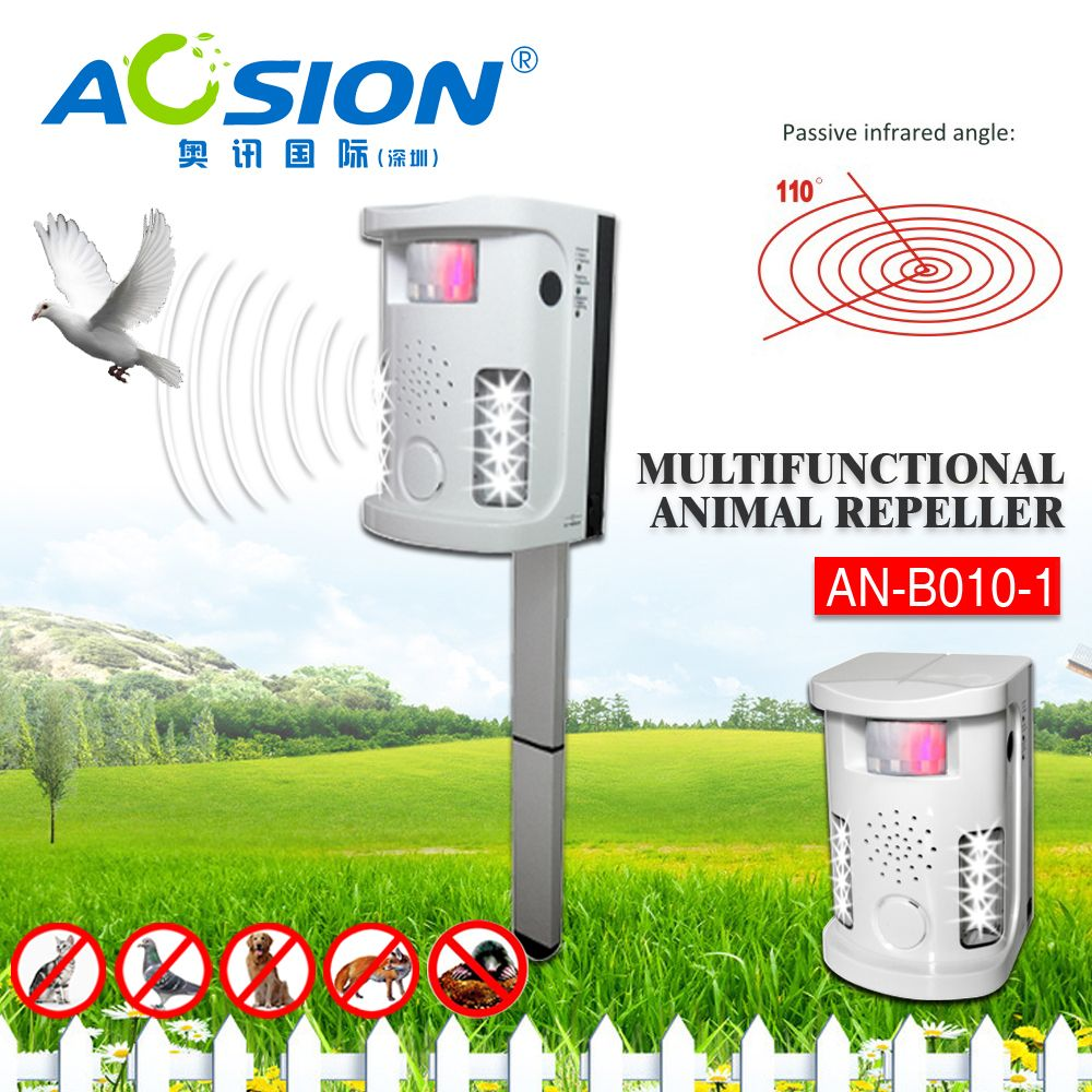 Garden Tools Aosion Battery operated electronic Dog cat fox repeller PIR ultrasonic repel dogs birds cats repeller repellent
