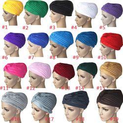 Mode Femmes Hijab Turban Couvre Cap Islamique Solide Chapeau Musulman Indien Casquettes New H9