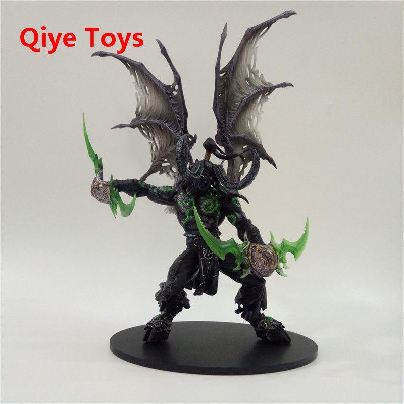 29cm WOW Demon hunter Form ILLIDAN STORMRAGE Deluxe Collector Action Figure BLACK Purple Model Toy Gift