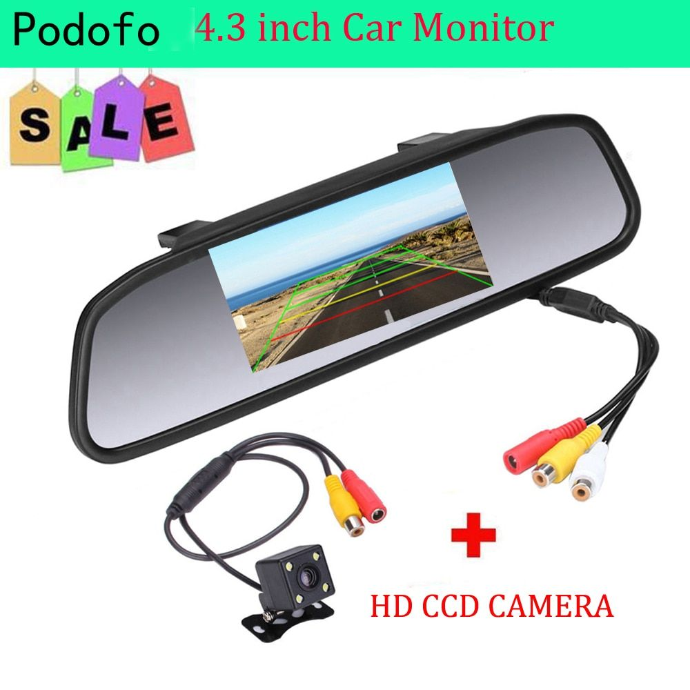 Podofo Car HD Video Auto Parking Monitor, 4 LED Night Vision CCD Car Rear View Camera, 4.3