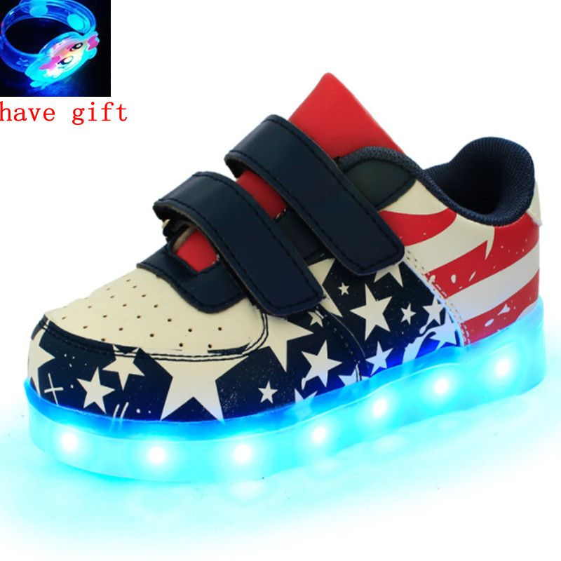 Led Shoes Kids USB Charge 7colors Boys Girls Luminate Sneakers Children Shoes With Light Up Size 25-37 Glowing Shoes
