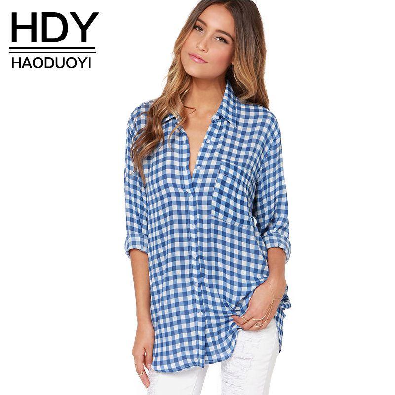 HDY Haoduoyi Мода Повседневная Синий плед Для женщин блузка свободная длинная рубашка для оптовая продажа и бесплатная доставка Для женщин Топы ...