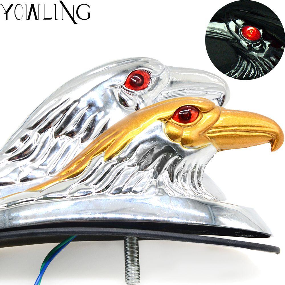 Ornement d'aile de tête d'aigle de moto d'argent et d'or avec la décoration de garde-boue avant en aluminium de vélo d'atv d'oeil allumé rouge
