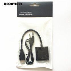 Alta calidad HDMI a VGA macho a hembra Adaptador convertidor 1080 p Digital a analógico Video Audio para PC tableta del ordenador portátil
