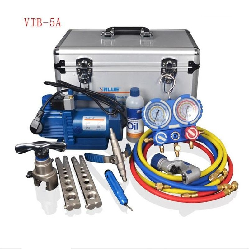 VALUE 7in1 VTB-5A Refrigeration Repair Tool Set With Aluminum alloy box Refrigeration Toolbox Set Flare Device Vacuum Pump