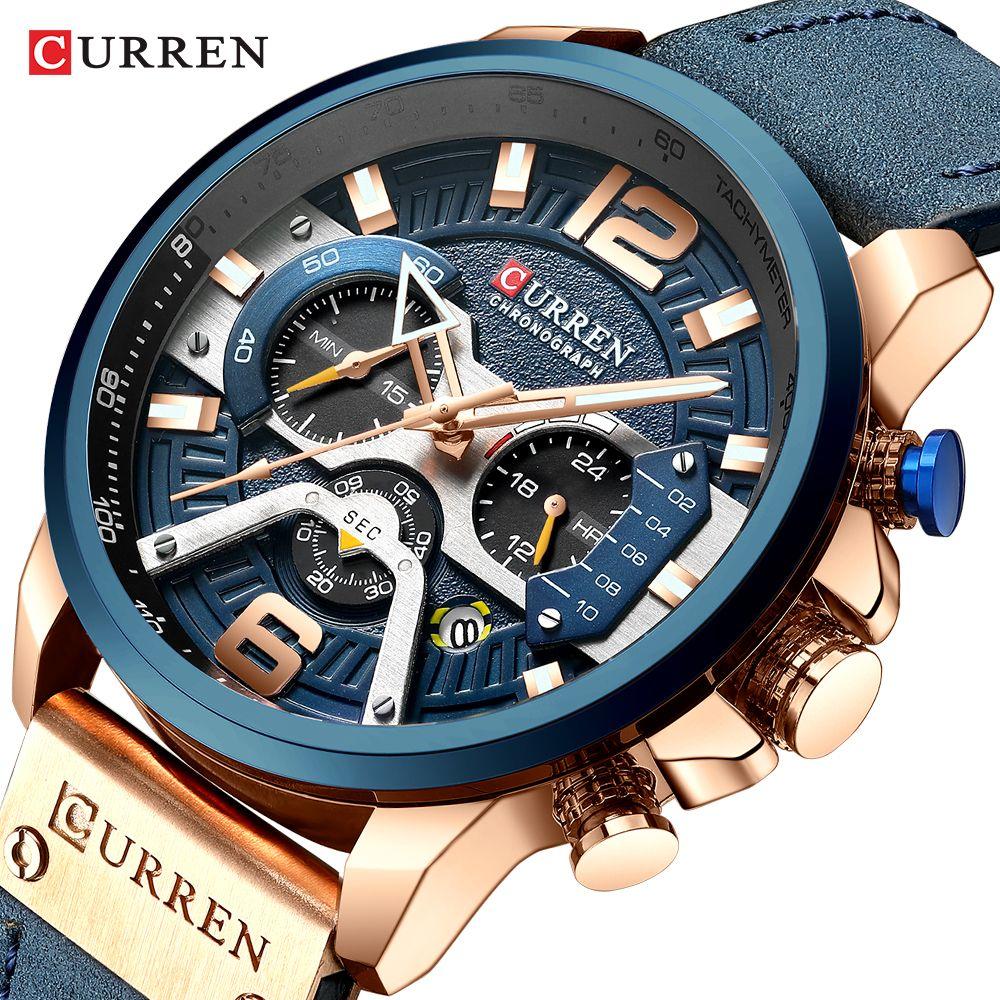 CURREN Top Brand Men Casual Wristwatches Mens Sport Waterproof Quartz Watch Fashion Military Leather Chronograph Montre Homme