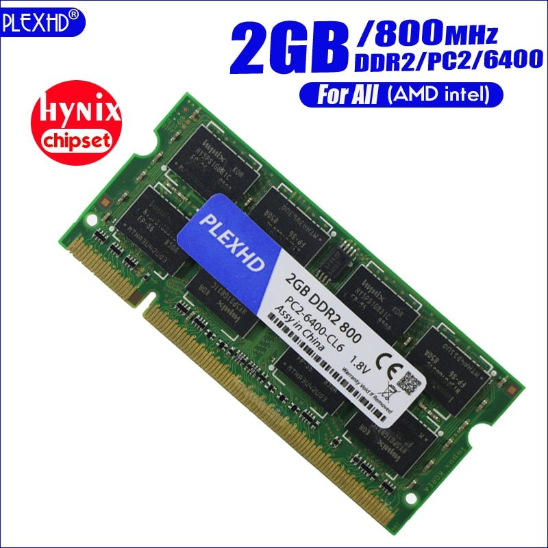 PLEXHD 2G 2GB DDR2 pc2 6400 800Mhz 2RX8 Laptop Memory 2G pc2-6400S ddr2 800 MHZ 200pin Notebook RAM (hynix chipset)
