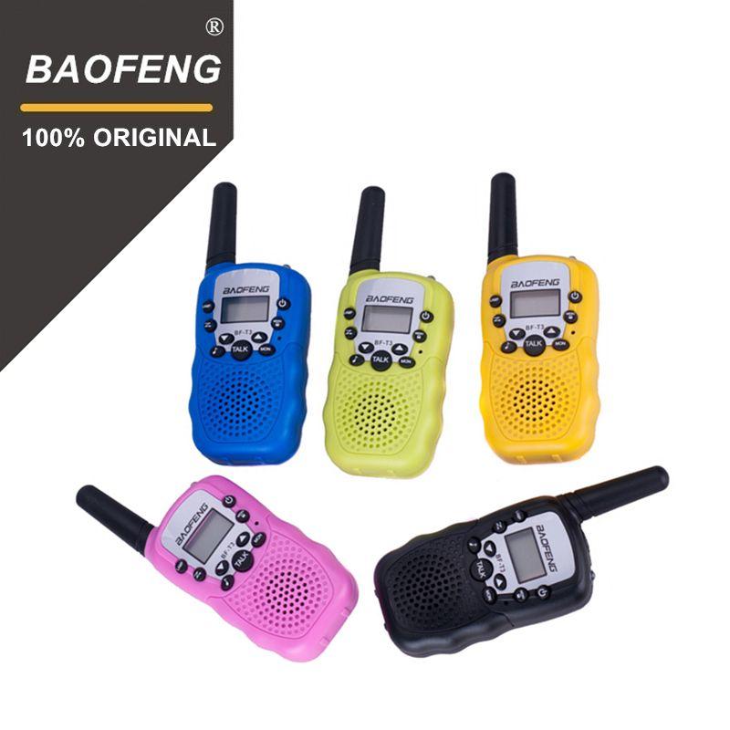 2 pcs En Gros Enfants Mini Enfants UHF Talkie Walkie BF-T3 Baofeng FRS Radio Bidirectionnelle Comunicador T3 Walkie À Portée de main Hf émetteur-récepteur