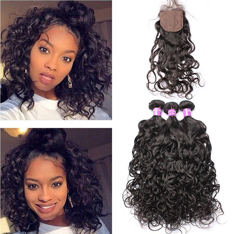 Wasser Welle 3 Bundles Mit Verschluss Bazilian Menschliches Haar Weave Bundles Mit 4x4 Seide basis Schließung Reines Haar sie Kann