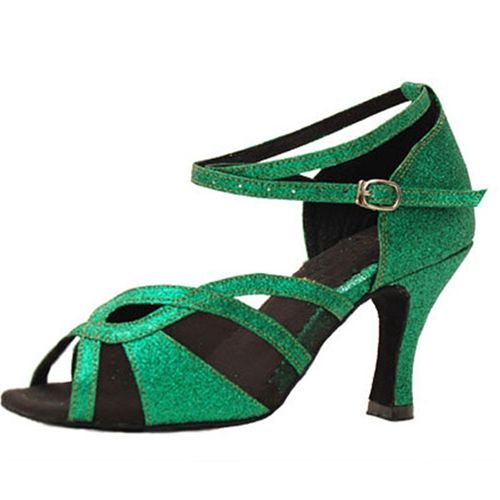 Girls Latin Dance Shoes Leather Sole US 4-11 Green color Salsa Latin Dance Shoes For Women And Customizable Heels JYG921