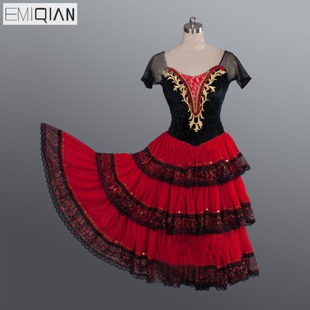 Don Quixote Adult Black Red Romantic Tutu Professional Ballet Long Tutu Spanish Dance Costume Spanish Kitri Dance Ballet Dress