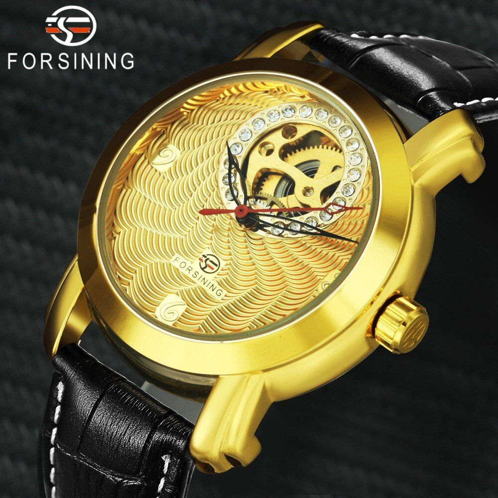 FORSINING Luxury Men Women Automatic Mechanical Watches Iced Out Skeleton Dial Louvre Series Clock Fashion Lover's Wristwatch