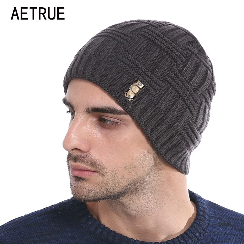 AETRUE Winter Beanies Bonnet Knit Hat Men Winter Hats For Men Women Brand Beanie Skullies Balaclava Black Gorros Warm Hats 2017