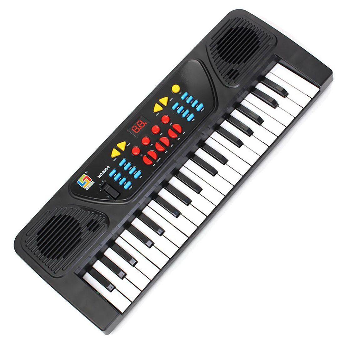 Kids Children 37 Key Electronic Keyboard Piano Musical Toy Record Microphone Mic, Black+White