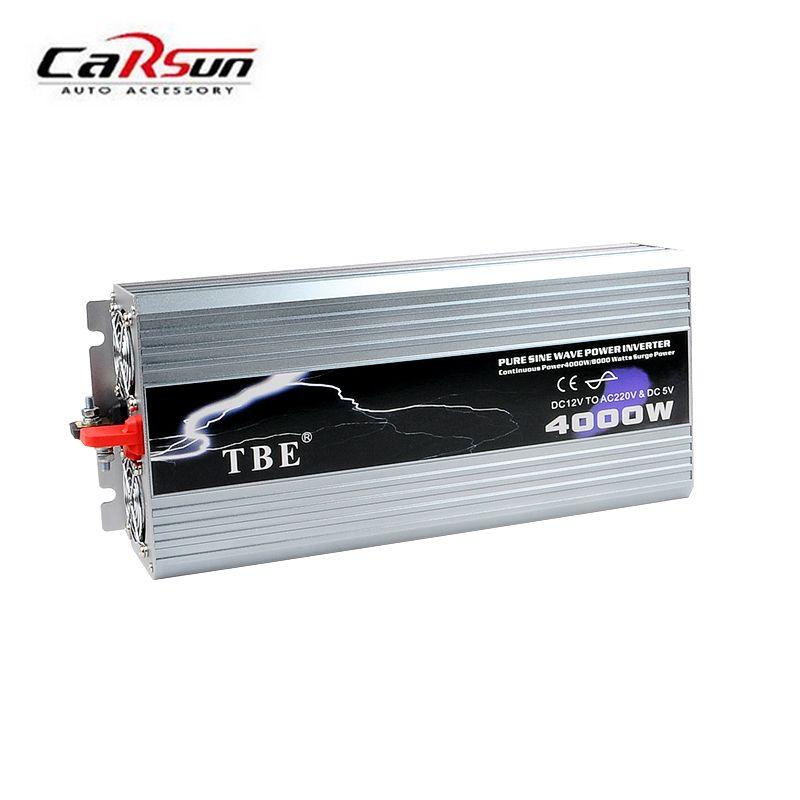 Power Inverter 4000W Pure Sine Wave Inverter DC 12V/24V/48V to AC 110/220V Car Converter Solar Power Inverter Peak Power 8000W