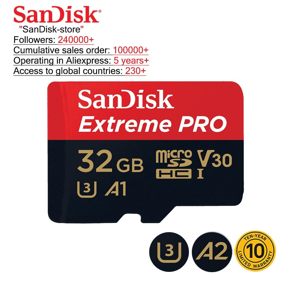 Carte mémoire Sandisk 100% Original carte Micro SD Class10 TF carte mémoire 32gb 64gb 128gb 256gb carte mémoire pour samrtphone et table PC