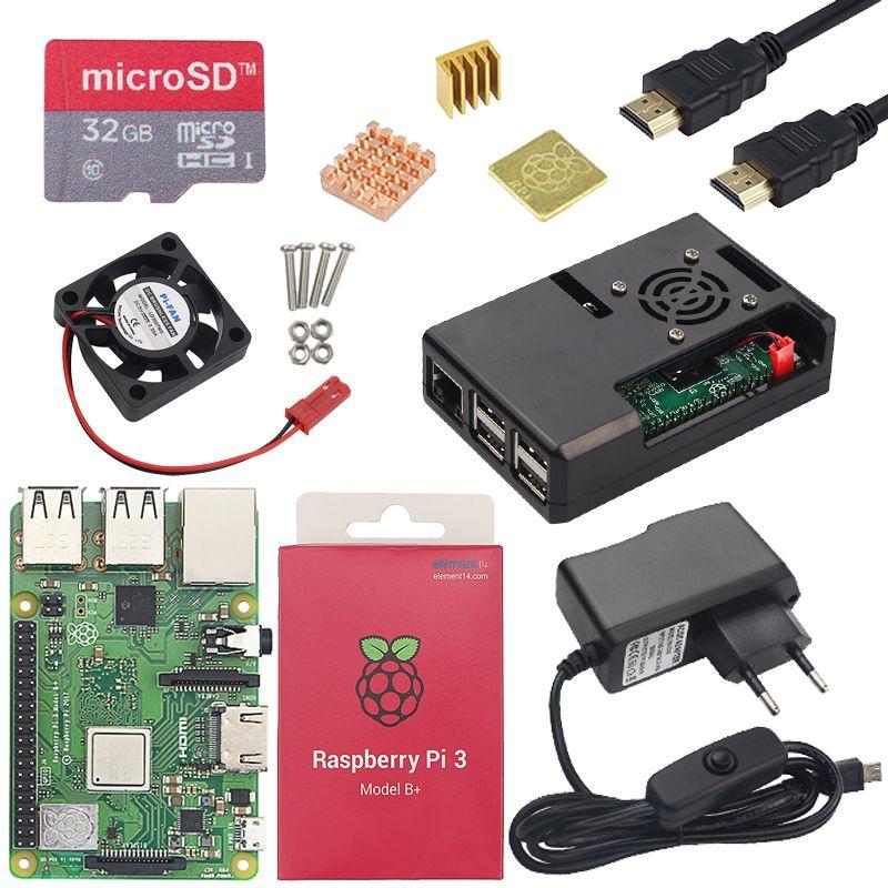 Raspberry Pi 3 Model B or Raspberry Pi 3 Model B+ Board + ABS Case + Power Supply Mini PC Pi 3B/3B+ with WiFi&Bluetooth