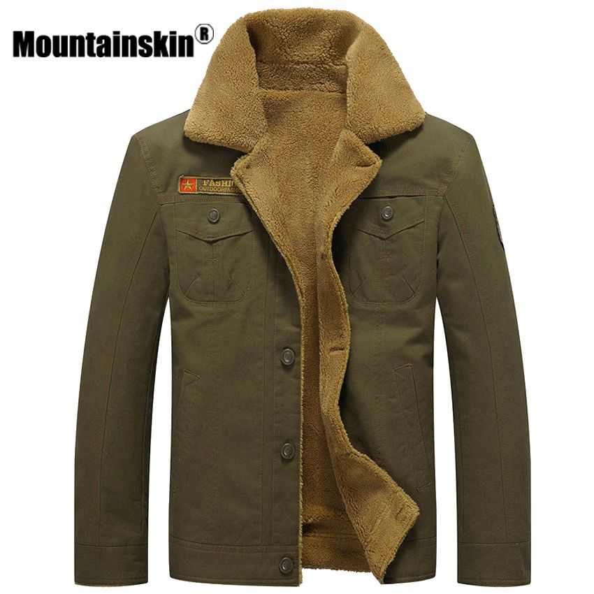 Mountainskin Thicken Fleece Winter Jackets Men's Coats 6XL Cotton Fur Collar Men's Jackets Military Casual Male Outerwear SA351