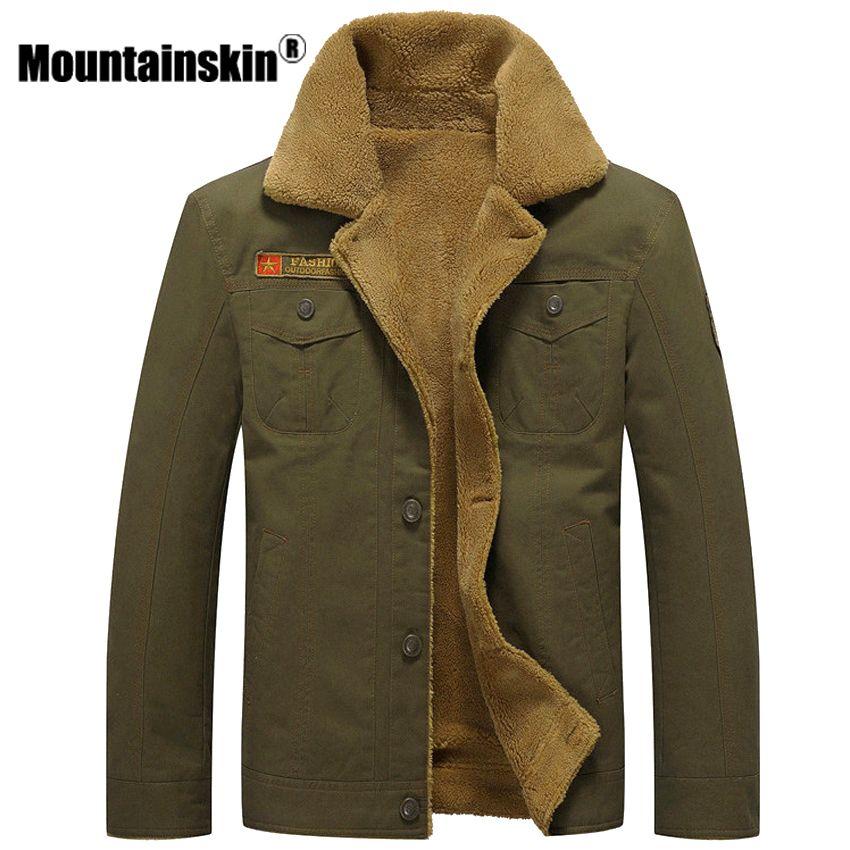 Mountainskin Winter Warm Jackets Thick Fleece Men's Coats Casual Cotton Fur Collar Mens Military Tactical Parka Outerwear SA351