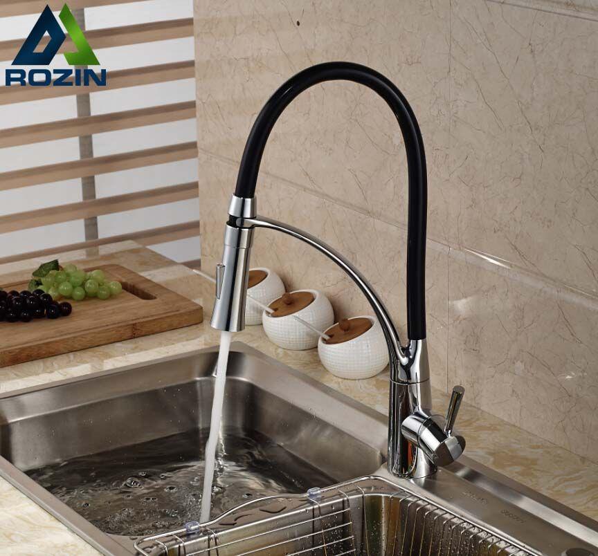 Deck Mount Black Hose Kitchen Mixer Taps Single Handle Stream Sprayer Kitchen Faucet Chrome Finish with Bracket