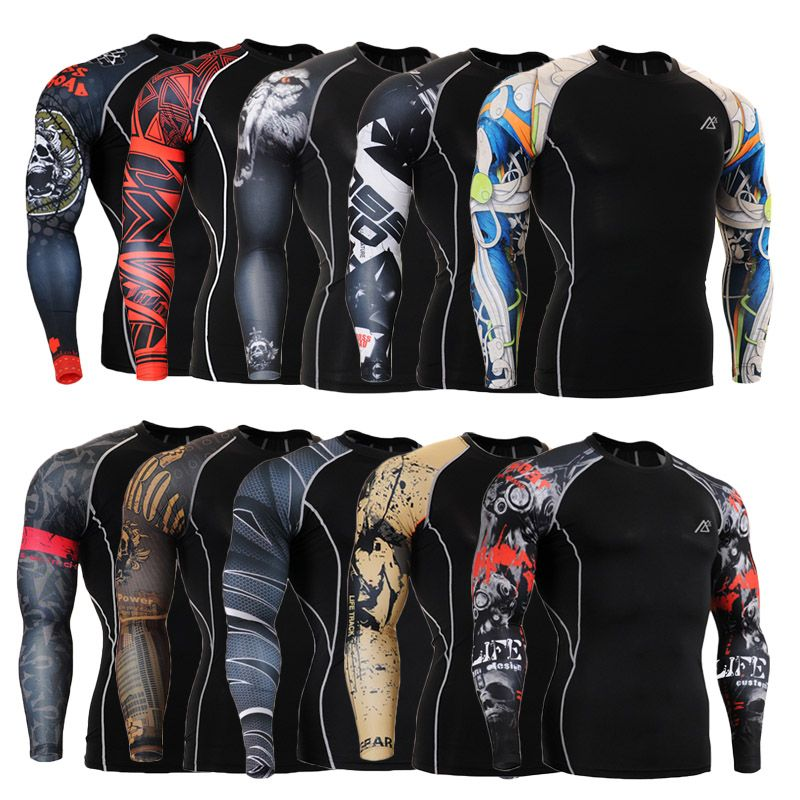 Men's Training T-shirts Gym Crossfit MMA Boxing Bodybuilding weightlifting Yoga Clothes Stretch Compression Shirt Men Fitness