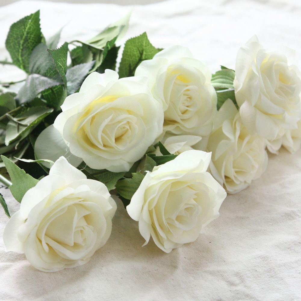 6 têtes vraie touche printemps fleurs de soie artificielle Rose fleurs Bouquets pour un mariage maison bureau décoration
