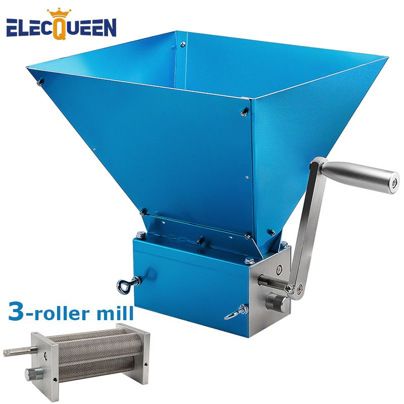 Grain Grinder 2018 Newest 3-Roller Malt Mills for Home Brewing Food Grade Stainless Steel 3 Rollers Mill Powerful Barley Crusher
