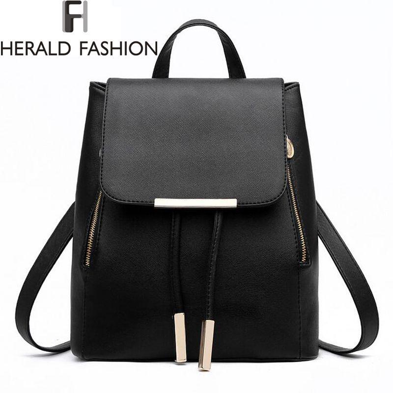 Women Backpack High Quality PU Leather Mochila Escolar School Bags For Teenagers Girls Top-handle Backpacks Herald Fashion