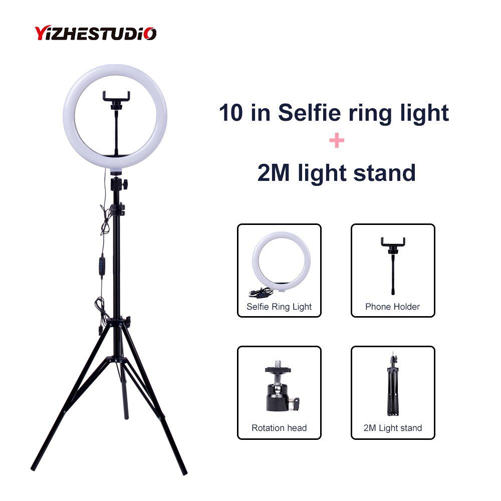 Vidéo en direct Dimmable LED Selfie anneau lumière USB prise photographie lumière de remplissage avec support pour téléphone 2M trépied support pour maquillage beauté