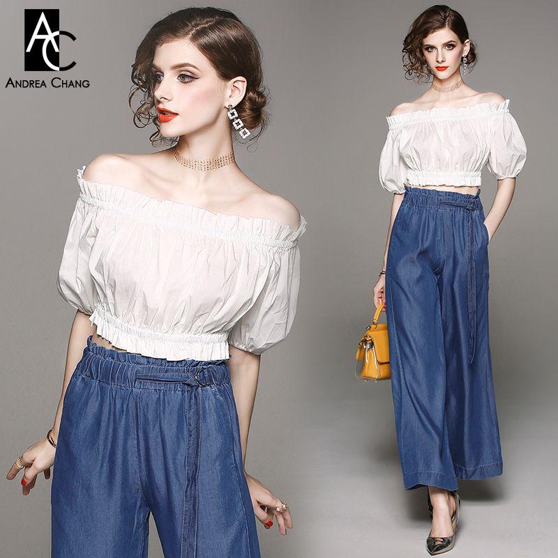 spring summer woman clothing set slash collar off shoulder white t-shirt + elastic waist wide leg loose blue pants cotton suit